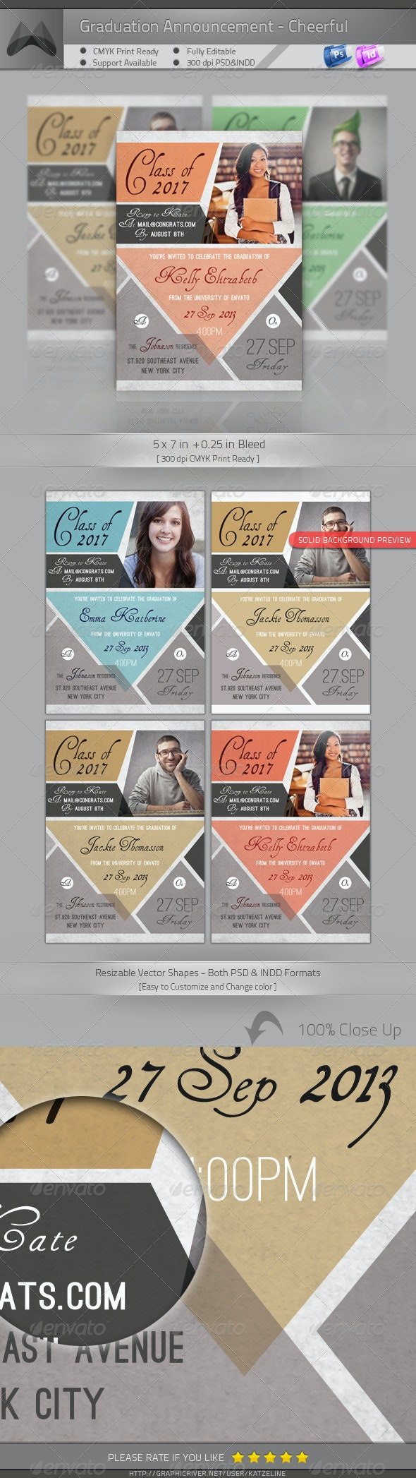 Graduation Announcement - Cheerful - Invitations Cards & Invites