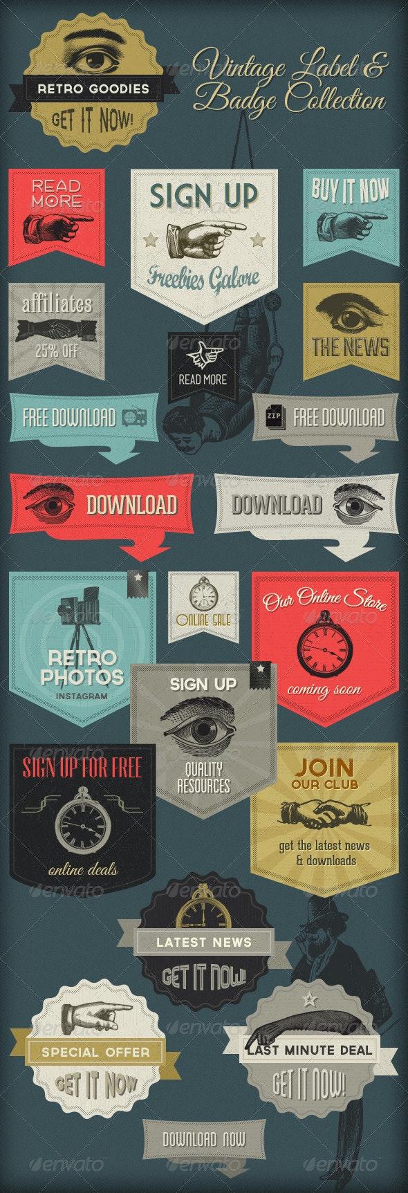 Retro Labels & Badges - Vintage Victorian  - Badges & Stickers Web Elements