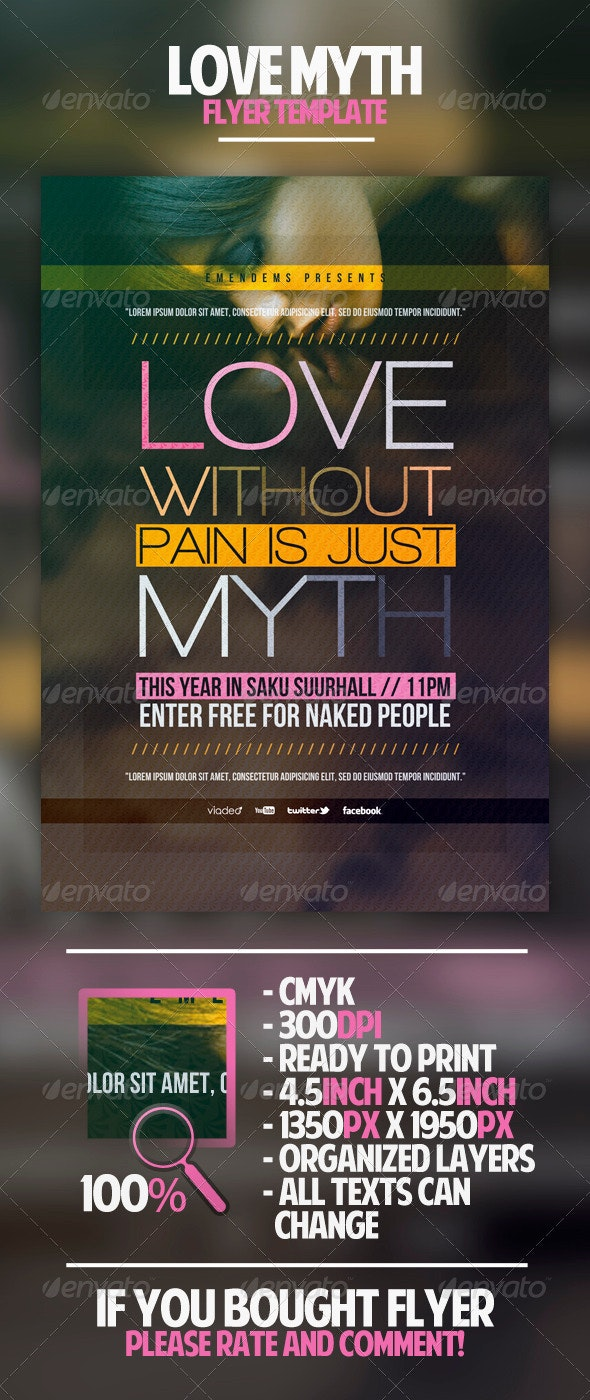 Love Myth Flyer Template - Clubs & Parties Events