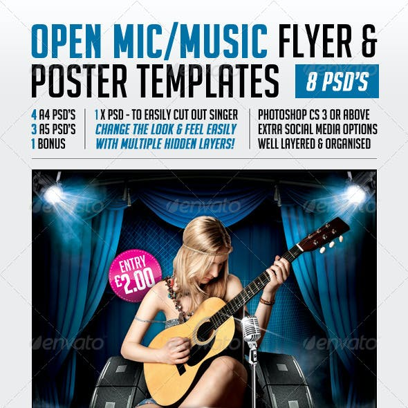 Open Mic Flyer & Poster Templates