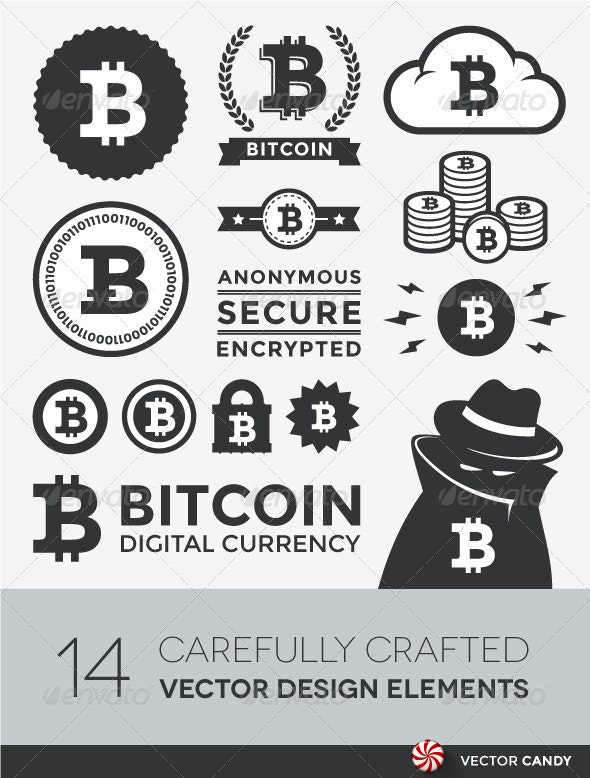 Vector Bitcoin Design Elements and Labels - Technology Conceptual
