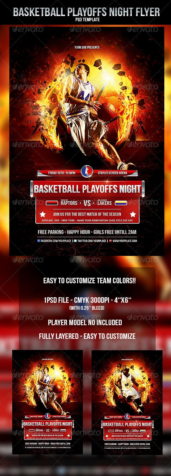 Basketball Playoffs Night Flyer Template - Sports Events