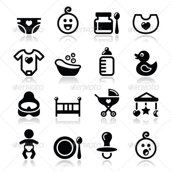 Baby, Childhood Vector Icons Set Isolated