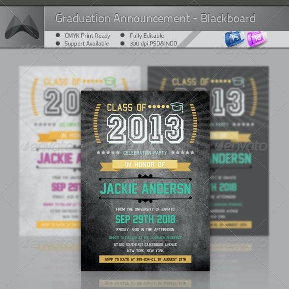 Graduation Announcement  Invitation - Blackboard