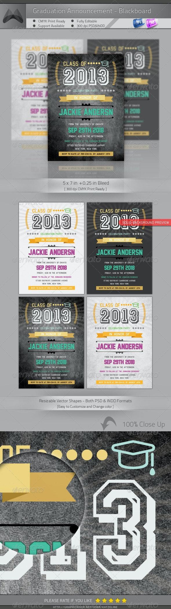 Graduation Announcement  Invitation - Blackboard - Invitations Cards & Invites