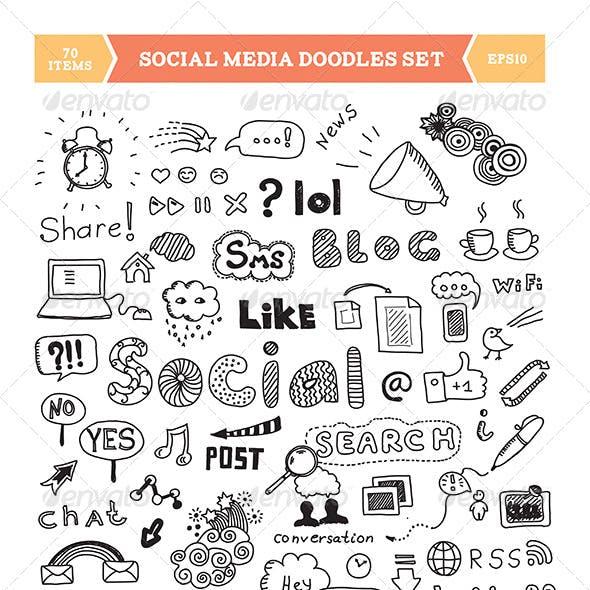 Social Media Doodle Elements Set