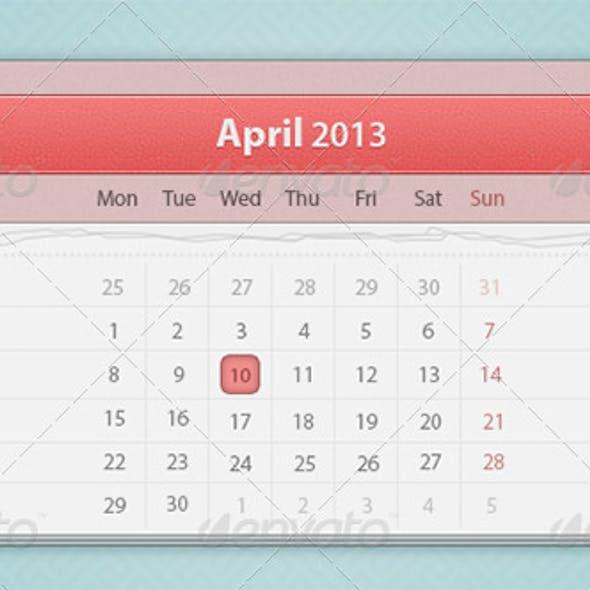 Red Calendar PSD