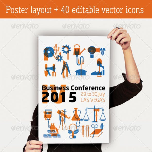 Business Conference Poster + 40 Industry Icons