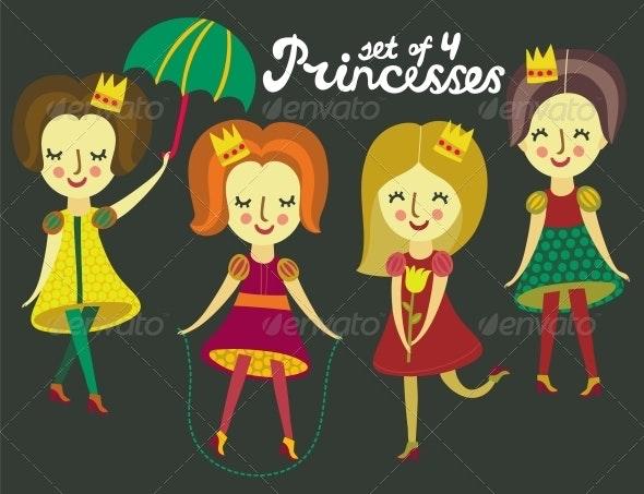 Set of 4 Colorful Princesses - Miscellaneous Vectors
