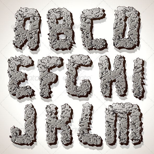 Alphabet Letter Made from Old Cracked Stone Vector - Decorative Symbols Decorative
