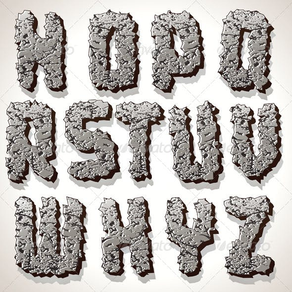 Alphabet Letter Made from Old Cracked Stone Vector