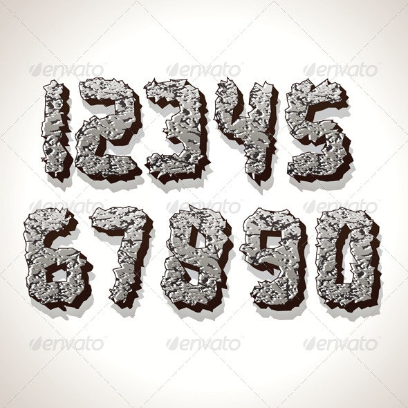 Numbers Made from Old Cracked Stone Vector - Decorative Symbols Decorative