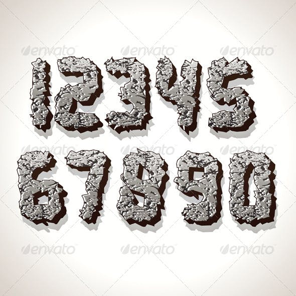 Numbers Made from Old Cracked Stone Vector