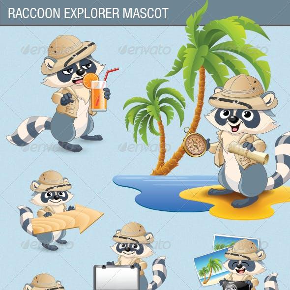 Raccoon Explorer Mascot