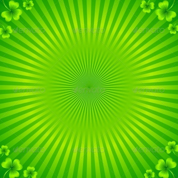 Green Radial Stripes Background with Clovers