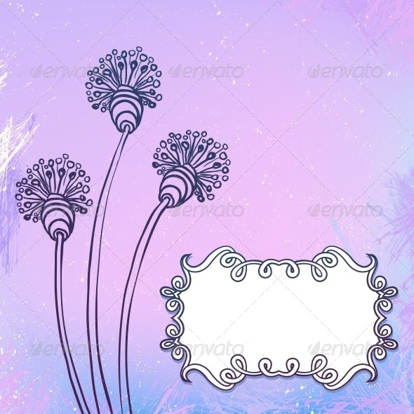 Card with Flowers on Watercolor