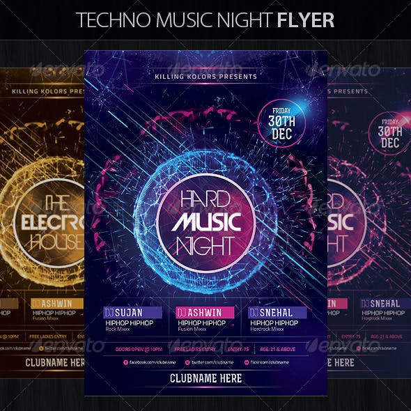 Techno Music Night Flyer