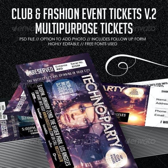 Club, Fashion & Event Multipurpose Tickets V.2