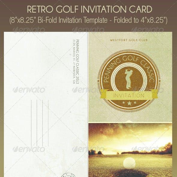 Retro Golf Invitation Card Template