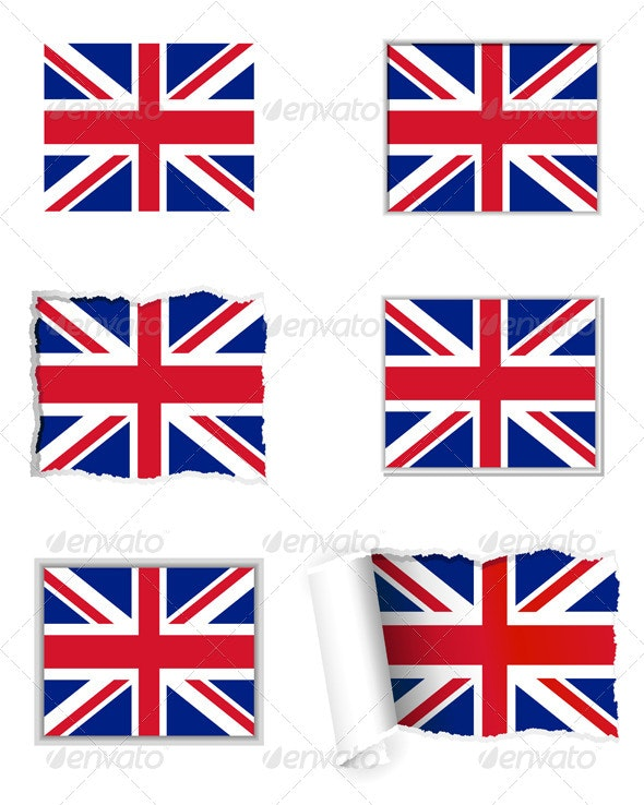 UK Flag Set - Web Elements Vectors