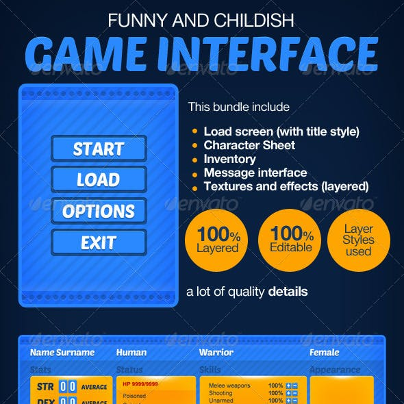 Funny or Childish RPG game interface