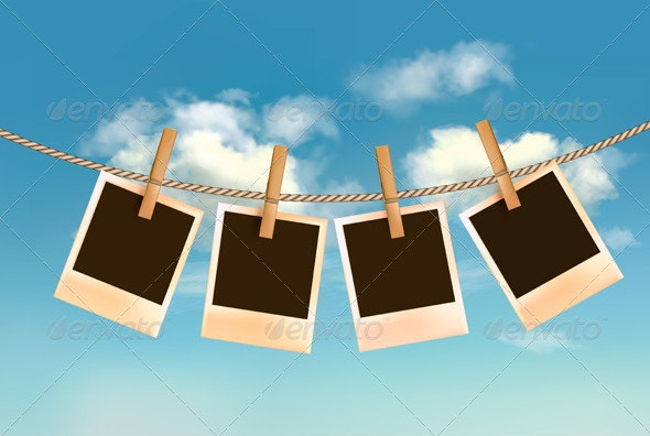 Retro photos hanging on a rope. - Retro Technology