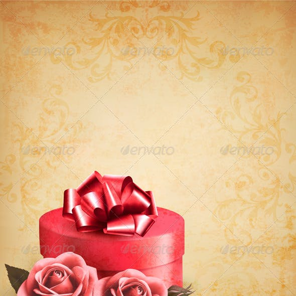 Retro Background with Beautiful Red Roses and Box