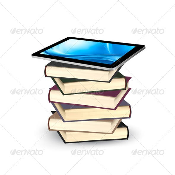 Tablet on a Stock of Books E-Book Capacity Concept