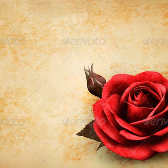 Retro Background with Red Rose with Bud