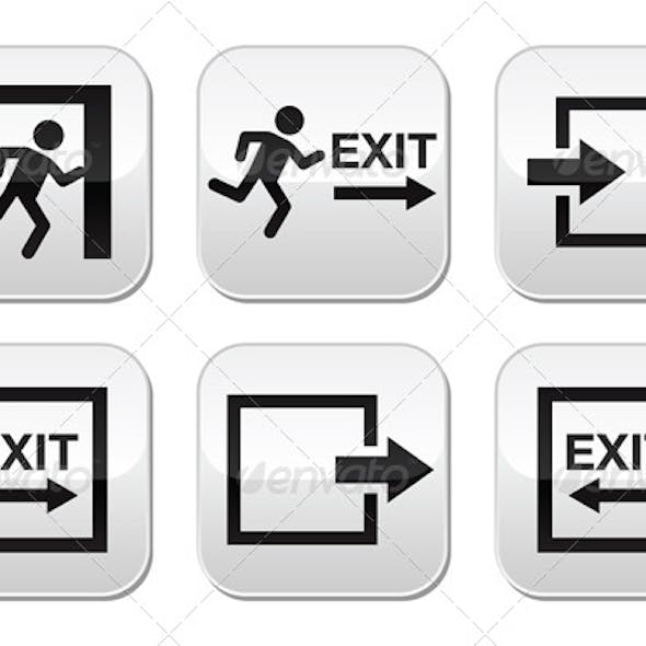 Emergency Exit Vector Buttons Set