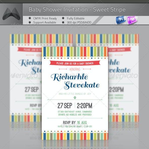 Baby Shower Invitation - Sweet Stripe