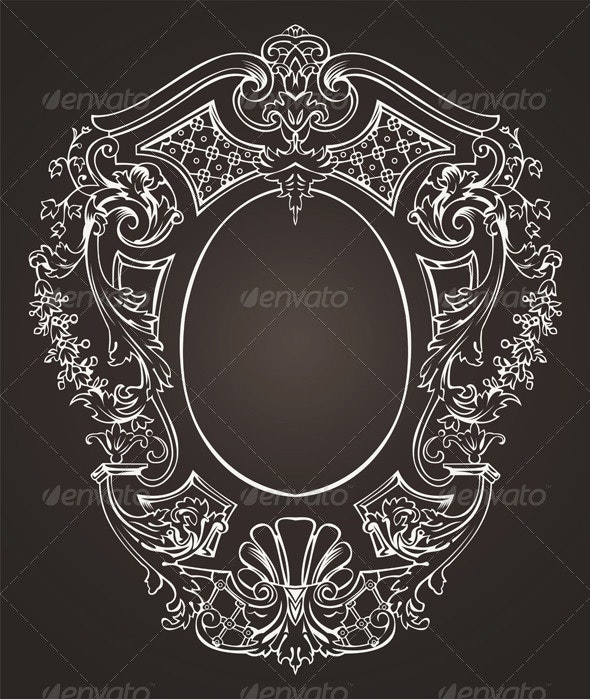 Ornate Oval Retro Frame - Miscellaneous Characters