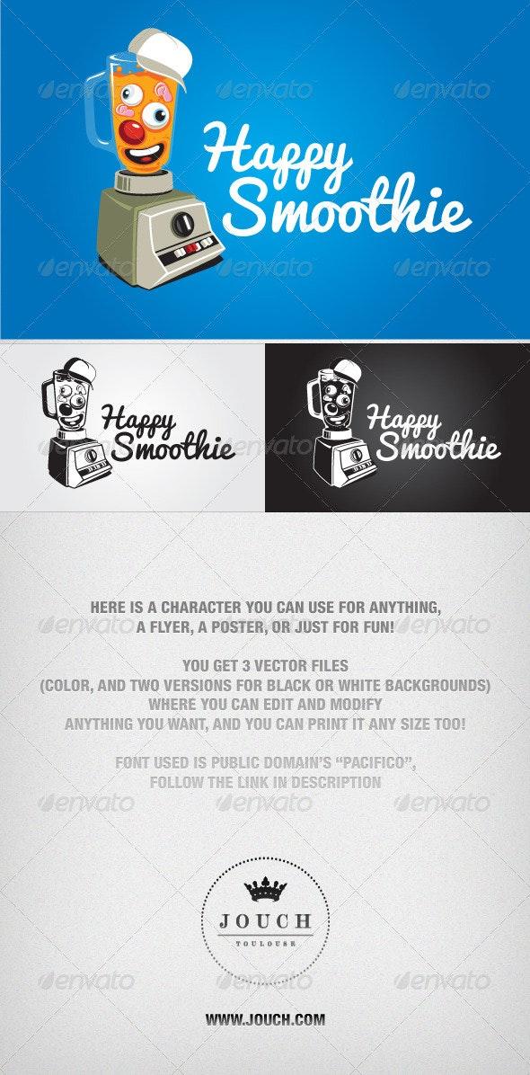 Happy Smoothie Vector Character - Characters Vectors
