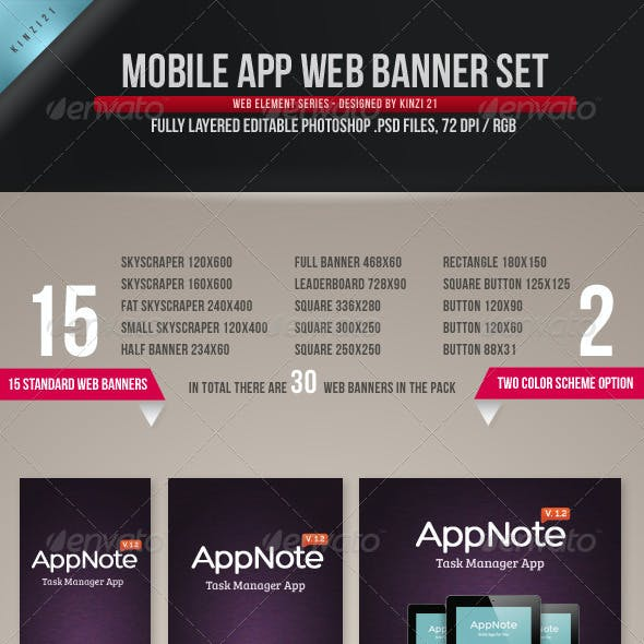 Mobile App Web Banner Set