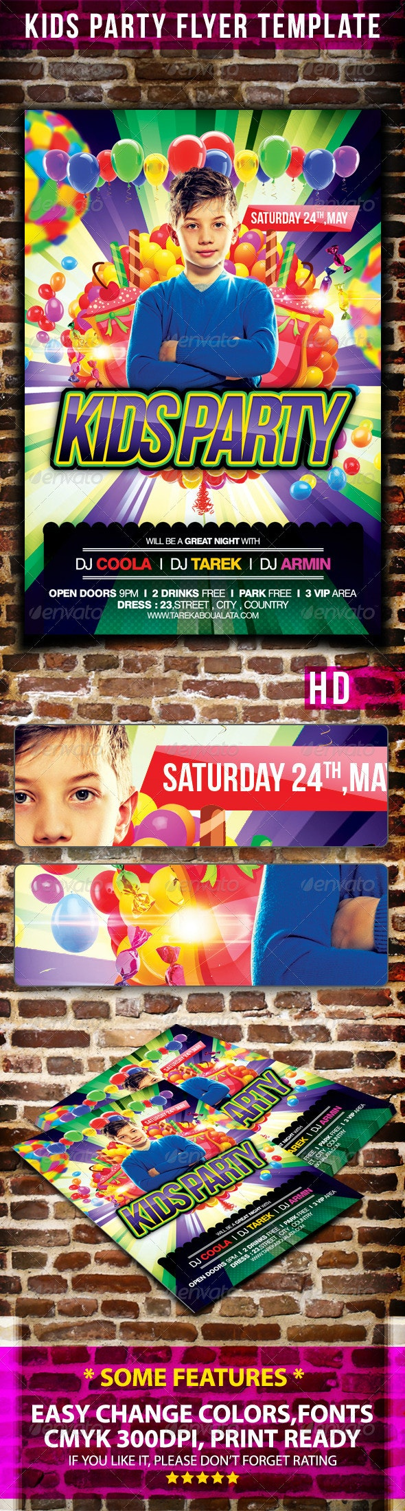 Kids Party Flyer Template v.2 - Clubs & Parties Events