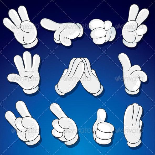 Isolated Comics Cartoon Hand Gestures. Vector Set - People Characters