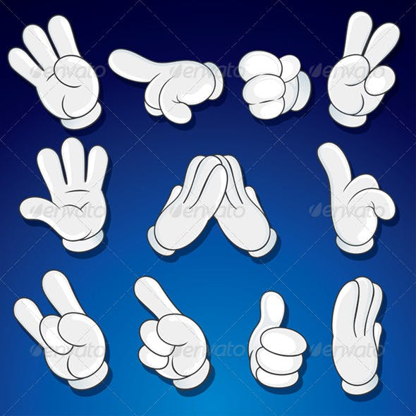 Isolated Comics Cartoon Hand Gestures. Vector Set