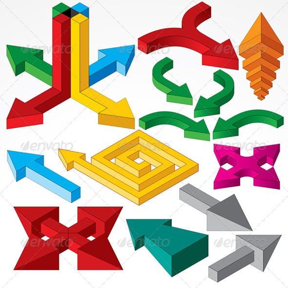 Isometric 3D Arrows Set Vector Image