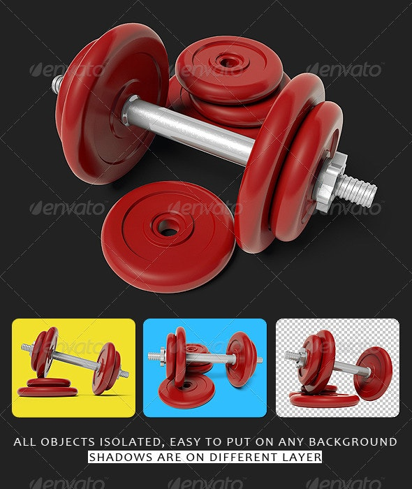 Set of 4 View Red Dumbbells - Objects 3D Renders