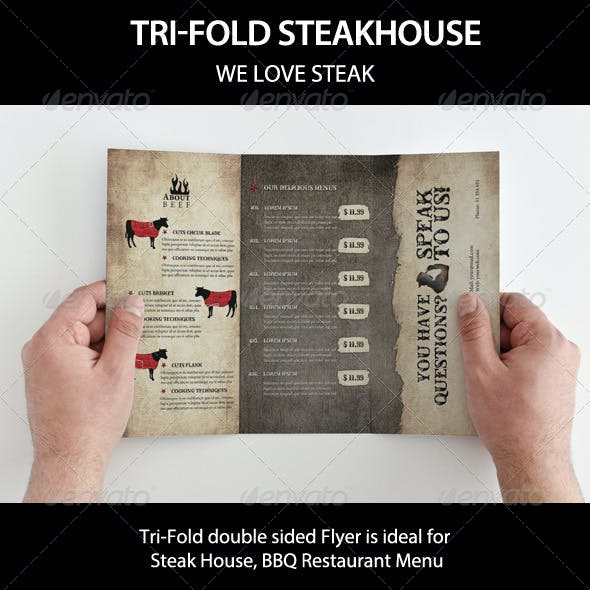 Tri-Fold BBQ Steakhouse and beef