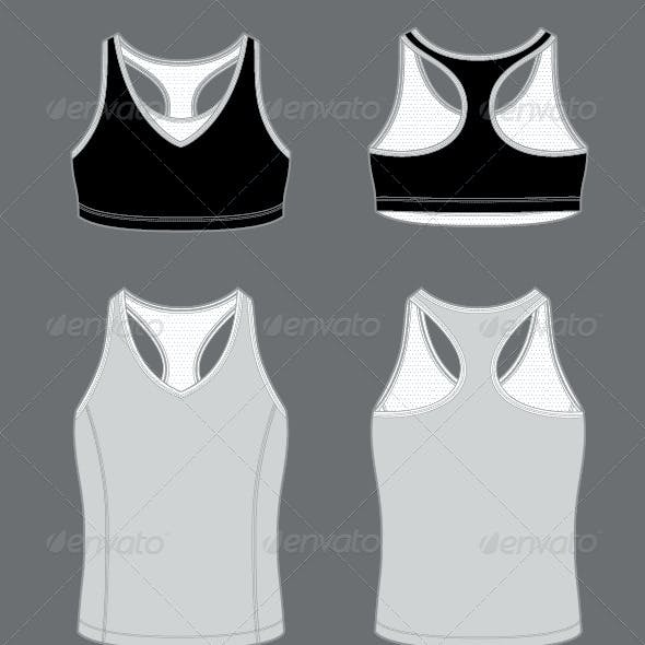 Women's Active Wear Template Bra and Tank