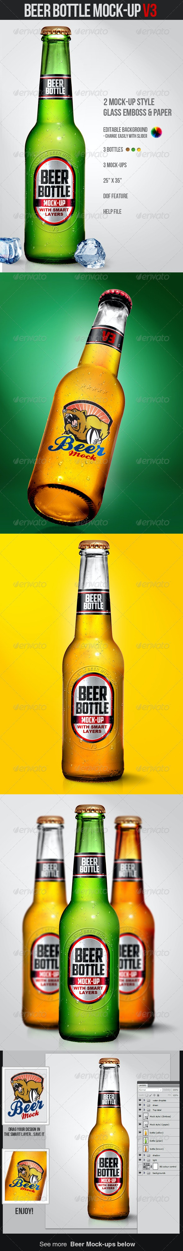 Beer Bottle Mock-Up V3 - Miscellaneous Product Mock-Ups