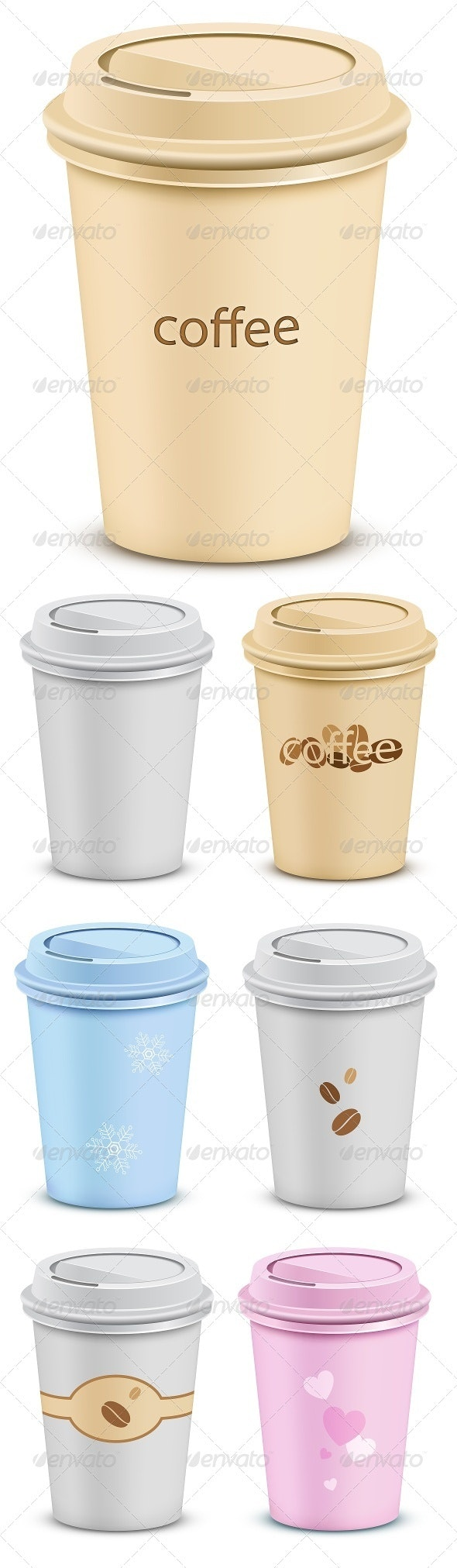 7 Plastic Coffee Cups - Food Objects