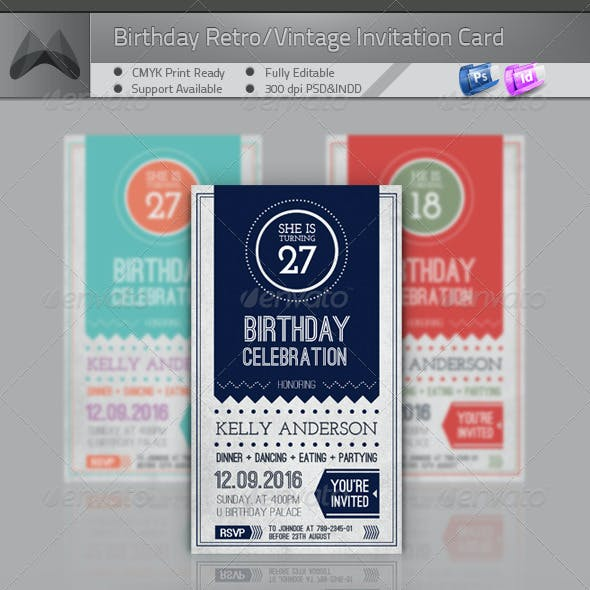 Birthday Retro/Vintage Invitation