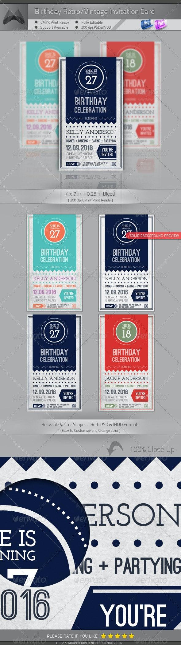 Birthday Retro/Vintage Invitation - Invitations Cards & Invites