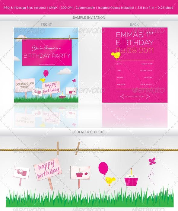 Invitation for Child's Party + illustrations
