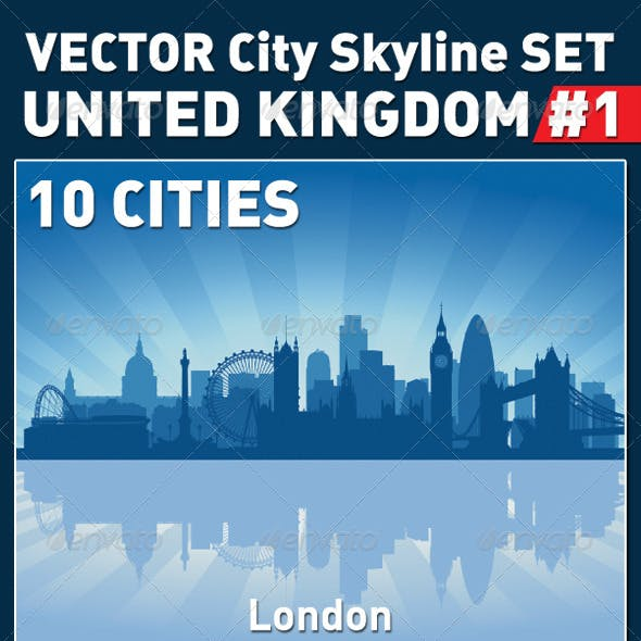 Vector City Skyline Set. United Kingdom #1
