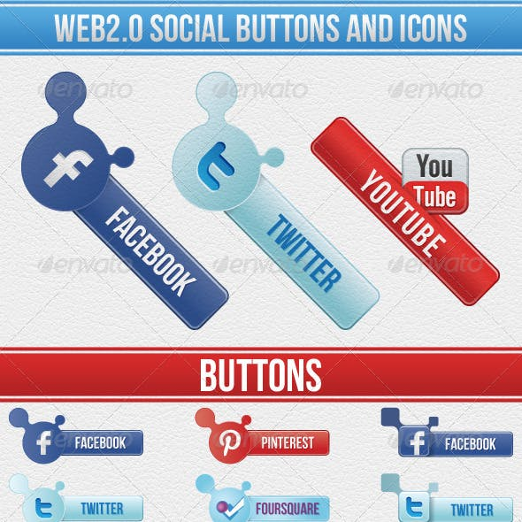 36 Social Web 2 buttons and icons