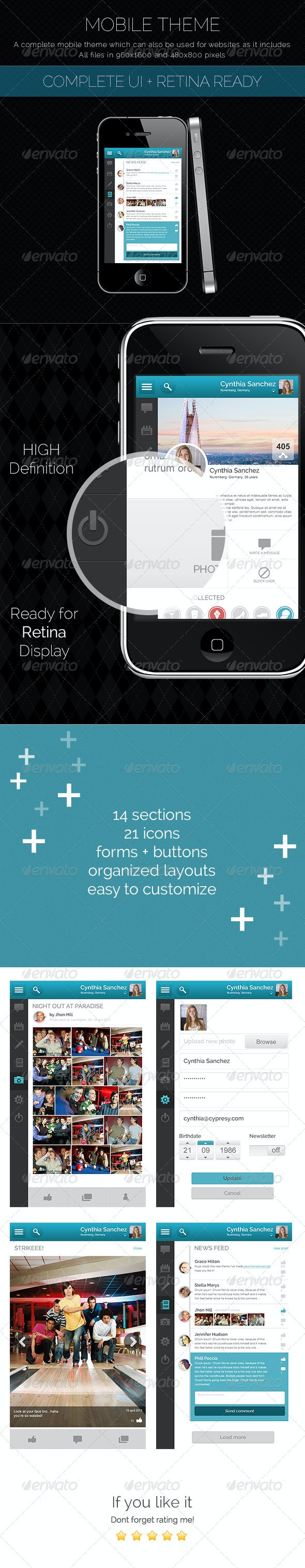 Mobile Theme With UI Set and Retina Ready - User Interfaces Web Elements