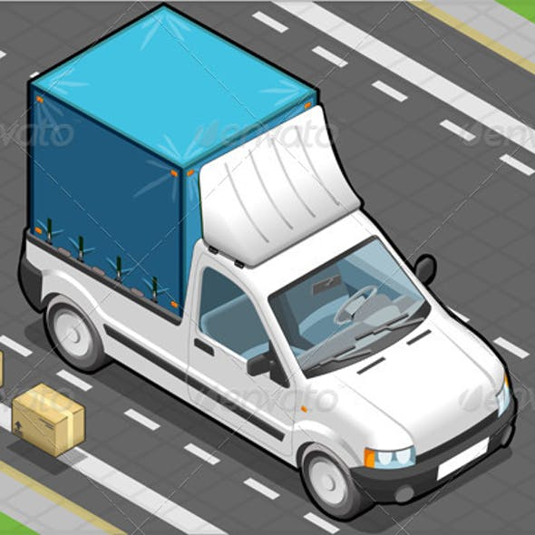 Isometric White Pickup Van with Blue Tarpaulin